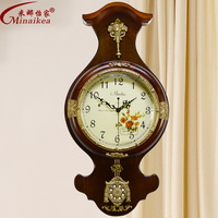 Fashion antique wood Large mute wall clock modern living room decoration quartz clock and watch rustic brief swing clock