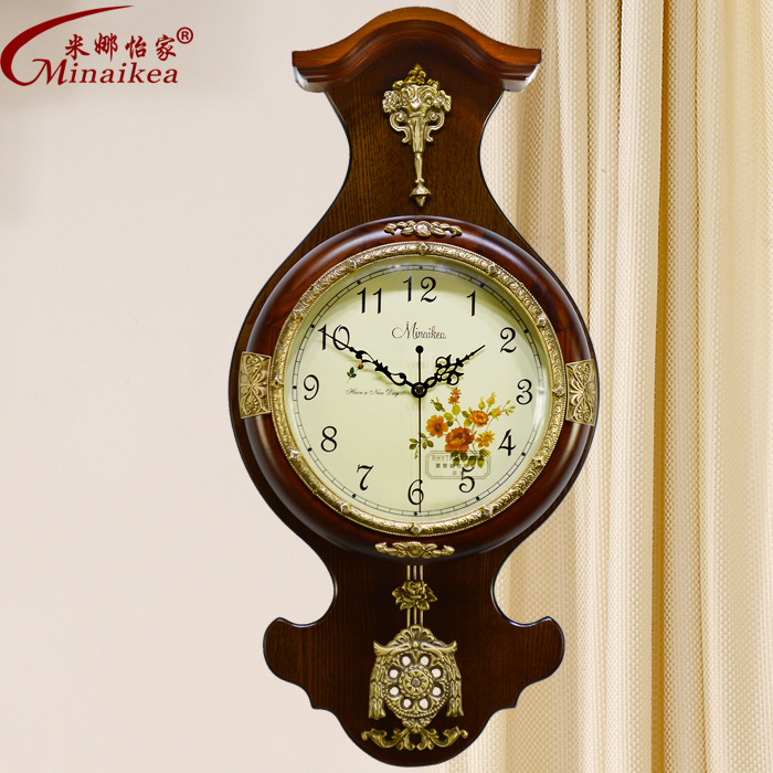 Fashion antique wood large mute wall clock modern living for Modern living room clocks