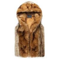 2016 Casual Winter Warm Mens Fur Vest Fashion Hooded Sleeveless Coat For Men Faux Fur Vest