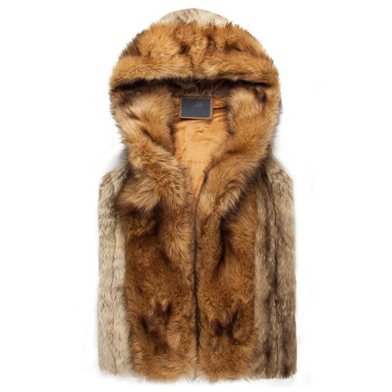 2016 Casual Winter Warm Mens Fur Vest Fashion Hooded Sleeveless Coat For Men Faux Fur Vest For Youth Plus Size XXXL
