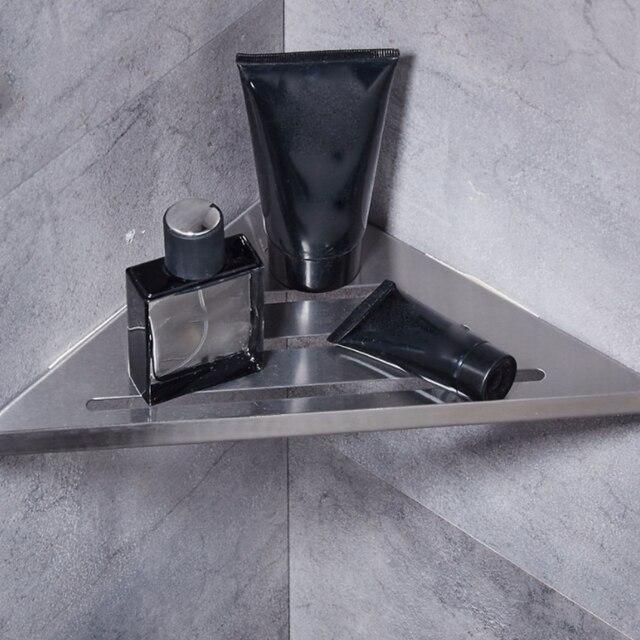 Triangle Bathroom Corner Shelf Brushed Nickel Stainless Steel Wall Bathroom  Shelf Shower Caddy Rack Bathroom Accessories Shelves