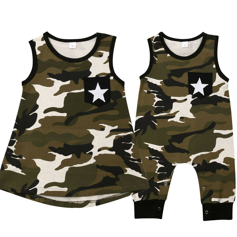 Fashion New Camouflage Big Sister Sleeveless A-line Dress Little Brother Romper One Pieces Outfits Summer Family Match ClothesFashion New Camouflage Big Sister Sleeveless A-line Dress Little Brother Romper One Pieces Outfits Summer Family Match Clothes