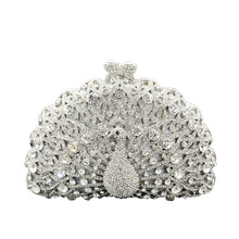 2016 Women Luxurious Peacock Rhinestones Diamond Handbag Clutch Bag Chain Silver Crystal Evening Wedding Bag