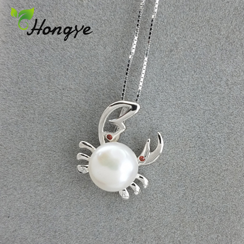 Hongye Women Big Crab Pendant Necklaces Silver 925 Neck Chain Sensitive Skin Girls Statement Real Pearl Jewelry Female Accessory
