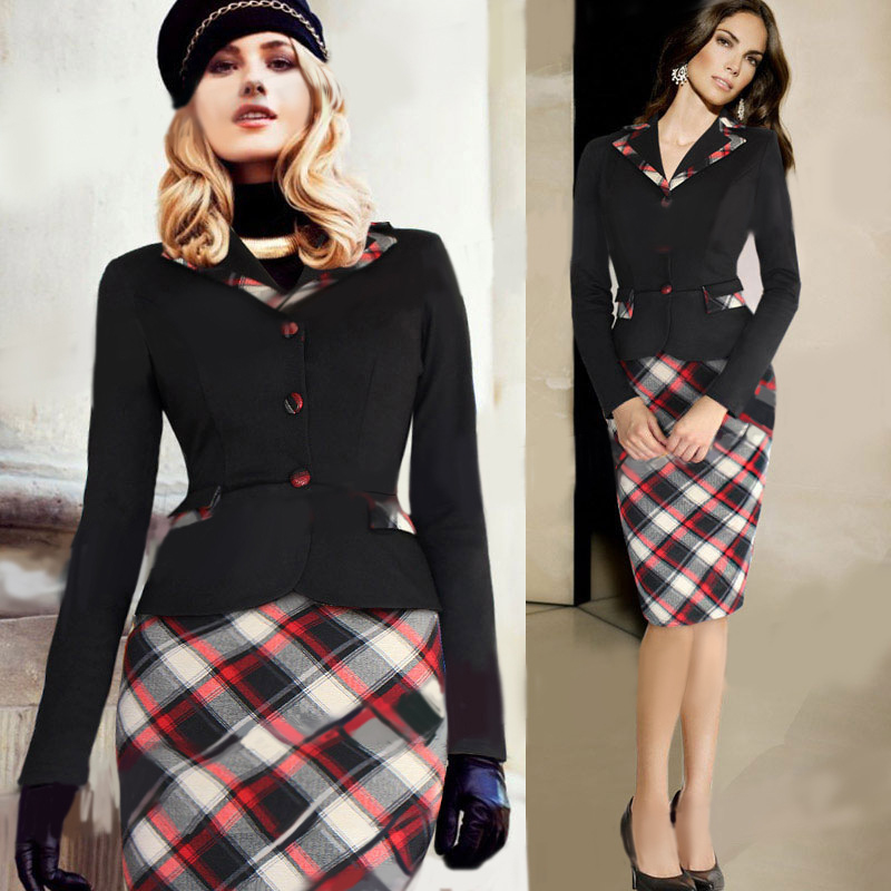 Womens Elegant Colorblock Patchwork font b Tartan b font Check Plaid Wear to Work Business OL