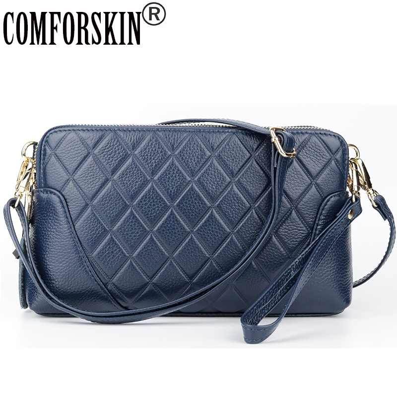 COMFORSKIN Premium Cowhide Double Zipper Messenger Bags 2018 New Arrivals European And American Geometric Ladies Cross-body