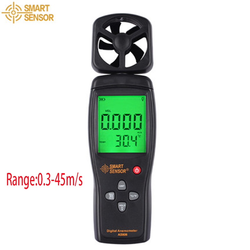 Smart Sensor AS806 0-45M/S Digital Air Flow Anemometer wind speed sensor hand-held Anemometer Thermometer air flow speed mete zipower pm 5148