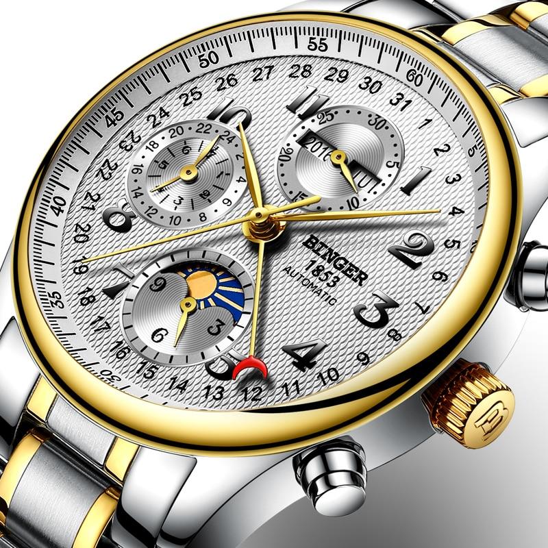 Швейцария BINGER часы мужчины люксовый бренд несколько функций Moon Phase сапфир календарь Механические часы B-603-83