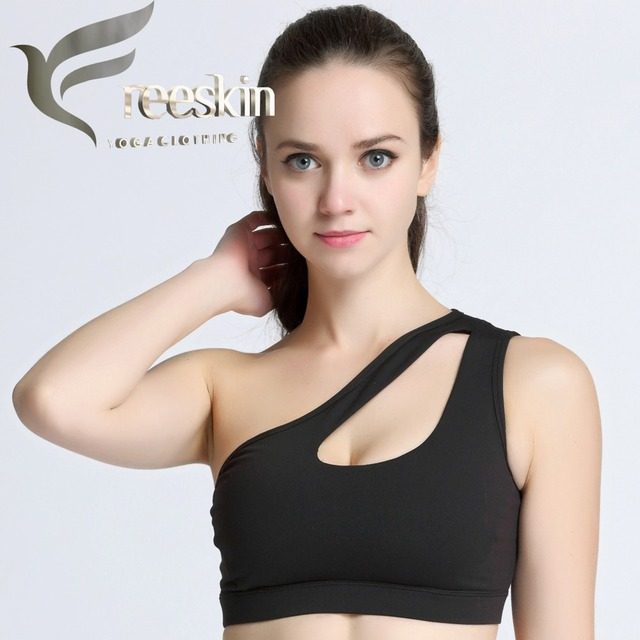 301035415d92b Freeskin Women Yoga Fitness High Impact Personality Sports Top Oblique  Shoulder Padded Women Racerback Shake Proof Sports Bra