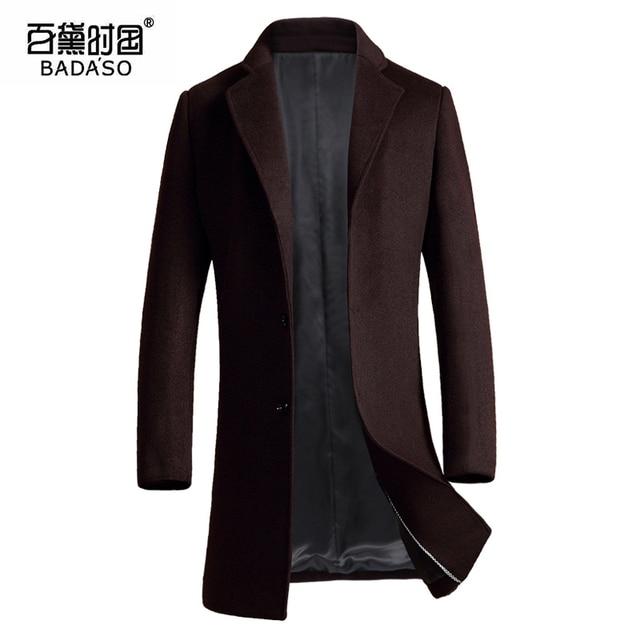 2016 invierno Nueva Marca de Moda de Ropa Hombres de la Chaqueta de Lana Escudo Abrigos solo Pecho Hombres Slim Fit escudo 1723