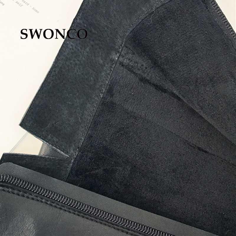 SWONCO Bốt Cao của Phụ Nữ 2018 Mùa Đông Ngắn Sang Trọng Boot cao Đến Đầu Gối Giày Nữ Da Khởi Động Phụ Nữ Mùa Đông Dài Boots Giày