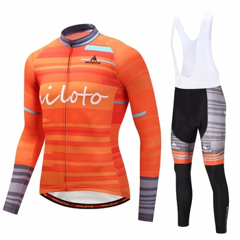 MILOTO Long Sleeve Cycling Jersey Set Bike Wear Breathable Sports Cycling Clothing suit Racing Riding Ciclismo Maillot Jacket
