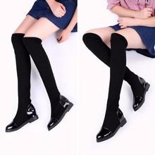 Automne Hiver Sexy Stretch Tissu Over-the-Genou Bottes de mode Botte Femmes Long Bottes PU bottes De Danse De cuir 022