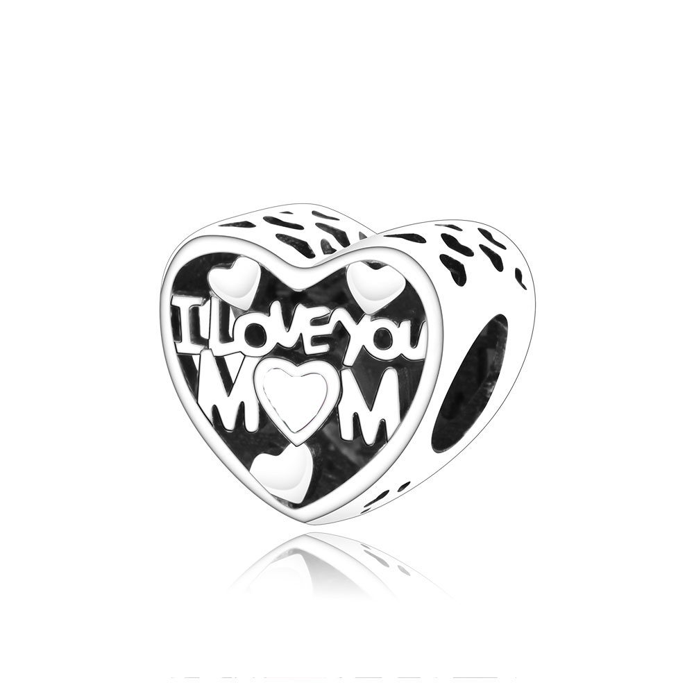 925 Sterling Silver I Love You Mom Charms With White