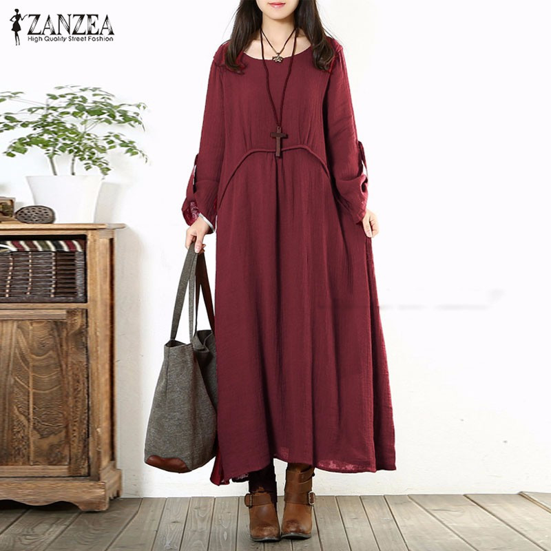 Fashion Autumn Dress 2018 Women Vintage Casual Loose Long Sleeve Long Maxi Dresses Oversized Vestidos Plus Size S-5XL