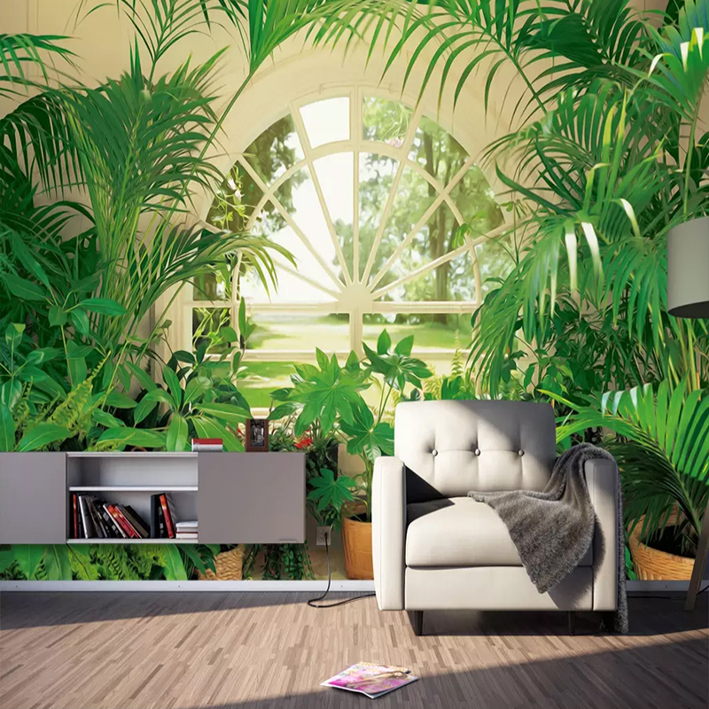 Custom Amy Size Murals Wallpaper 3D Green Plant Forest Window Photo Wall Painting Bedroom Study Background Wall Decor 3D Fresco