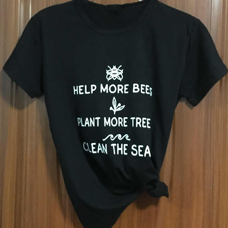 085fdcc44cfe6 Women Yellow Loose T-shirt Soft O-neck Funny Letter Help More Bees Plant  More Trees Clean Printed Top Tee for Girls Cute Clothes