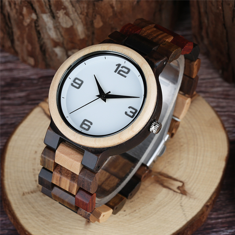Vintage Zebra Wood Case Men's Watch Wooden Watches Quartz Watches Men Unique Mixed Color Wooden Band Wristwatch Reloj de madera 7 types hollow dial wooden watch creative natural whole wood adjustable band men s sport casual dress hour clock reloj de madera