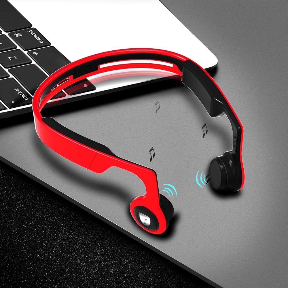 ALWUP fone de Ouvido Sem Fio fone de ouvido Bluetooth Estéreo Esportes Fone De Ouvido para Celular com Microfone de Condução Óssea 8 GB MP3 Jogador