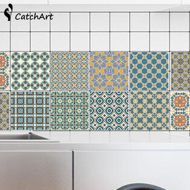 New Waterproof Wall Sticker Retro Tile Tiles Stickers Kitchen Bathroom Removable Diy Poster