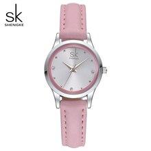 SK Brand  Fashion Ladies Watches Elegant Rhinestone Female Quartz Watch Women Thin Leather Strap Waterproof Montre Femme S0008