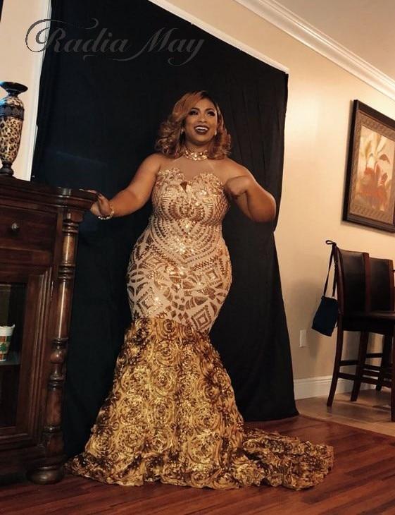 US $179.2 20% OFF|Gold Sequin Long Mermaid Plus Size Black Girls Prom  Dresses 2019 Elegant Halter 3D Flowers Court Train Vestidos de gala  Evening-in ...
