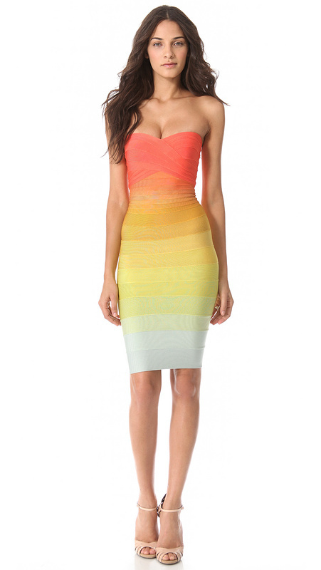 Free Shipping HL Brand Dresses High Quality for Women Fancy Rainbow Strapless Bandage Dresses