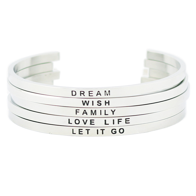 Fashion Jewelry 316l Stainless Steel Positive Text Cuff Bracelets Inspirational Quote Mantra Bracelet Bangle For