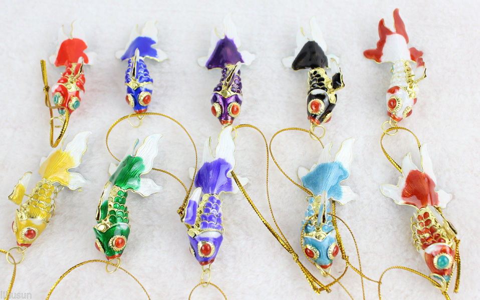 collectibl10pcs chinese classic cloisonne enamel fish christmas ornaments charms in pendant drop ornaments from home garden on aliexpresscom alibaba - Fish Christmas Ornaments