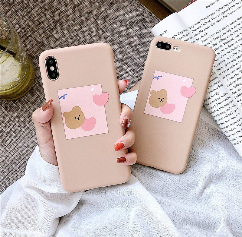 Pink jelly bear case for iphone x xr xs xsmax cover candy love heart photo fundas 6s 6 8 7 plus cartoon coque