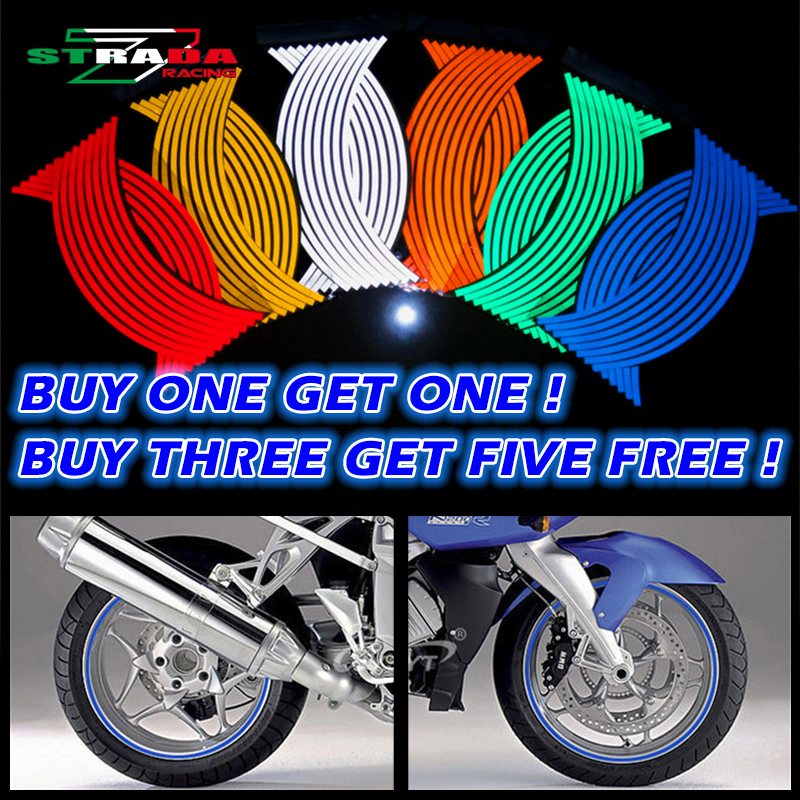 16 Strips Reflective Motocross Bike Motorcycle Sticker For14' Motorcycle Auto Wheel Rim Motorbike Motor Stickers Car Styling