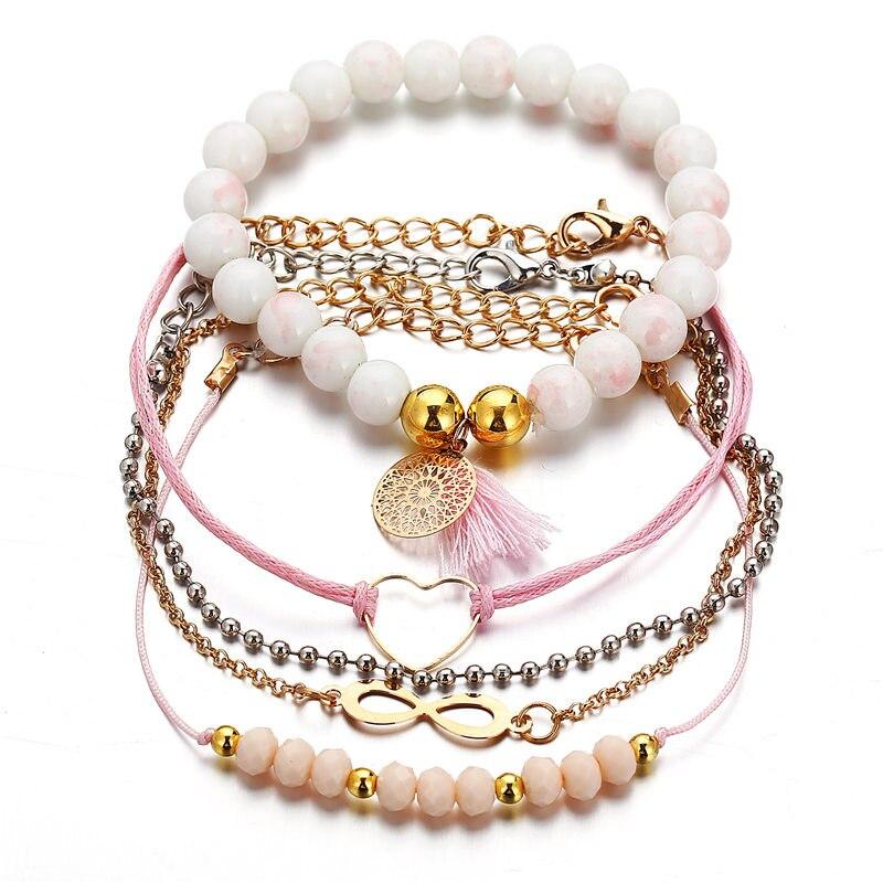 4 Pcs/set Womens Delicate Pink Stone Beads Love Heart Tassel Geometry Pendant Bracelet Set Bohemian Charm Jewelry Accessories