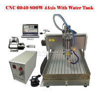 CNC 6040 engraving machine 800w 4axis cnc spindle metal woodworking machinery with USB port and water tank