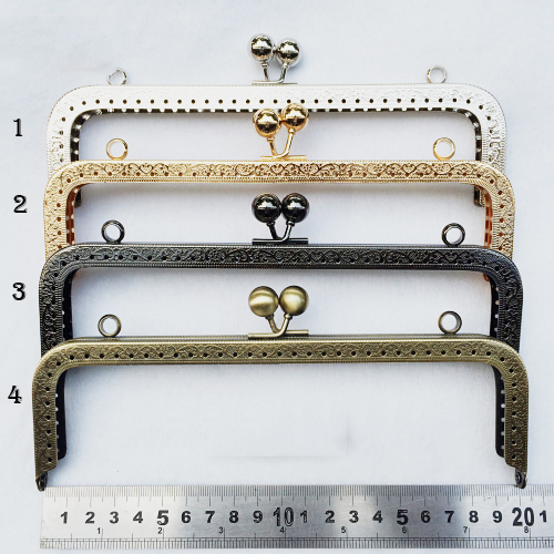 20cm 4 Color Purse Frame Metal Clasp For Bag Accessories Mouth Golden Knurling  3pcs/lot