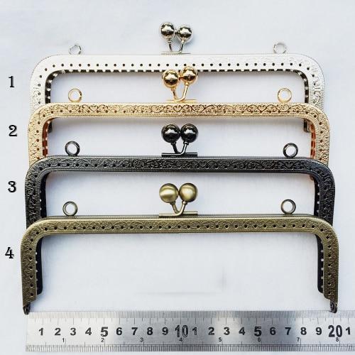20cm 4 Color Purse Frame Metal Clasp For Bag Accessories Mouth Golden Knurling  3pcs/lot