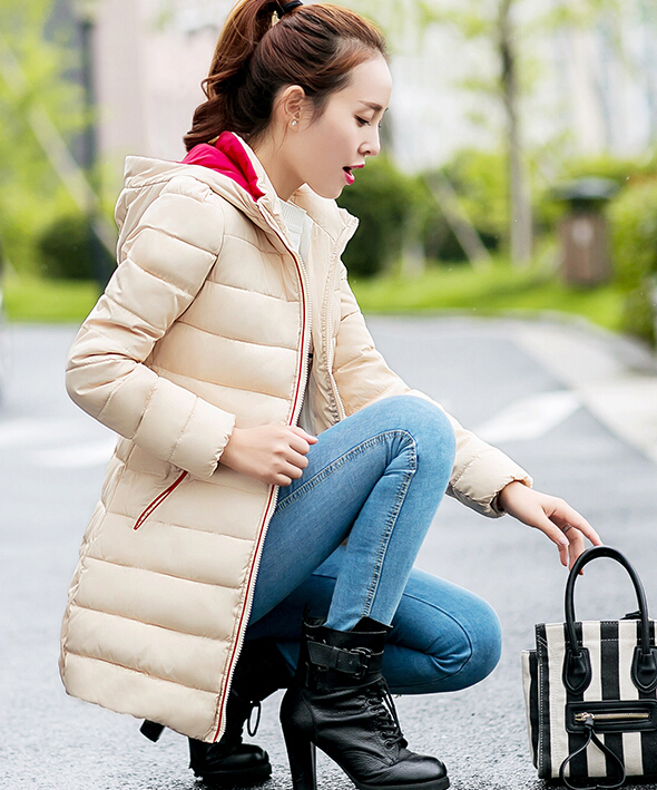 2017 new Wadded jacket female autumn winter cotton-padded down all-match women slim medium-long thickening warm ladies work coat 2015 new mori girl medium long thickening with a hood color block decoration cotton padded jacket wadded jacket