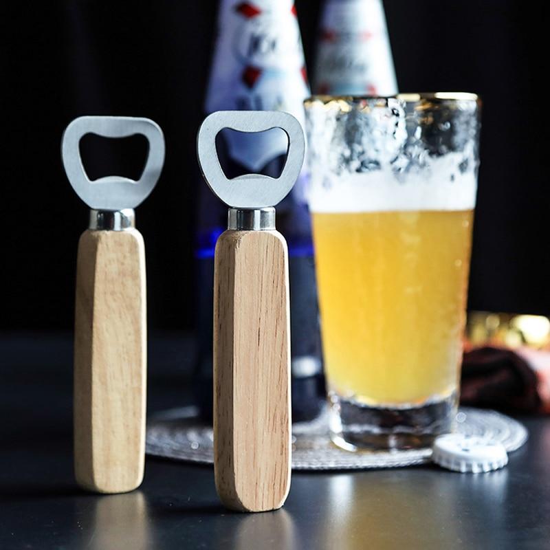 1 Pc Bier Opener Rvs Flesopener Houten Handvat Drank Soda Cap Opener Metalen Bar Benodigdheden Keuken Gereedschap Accessoires
