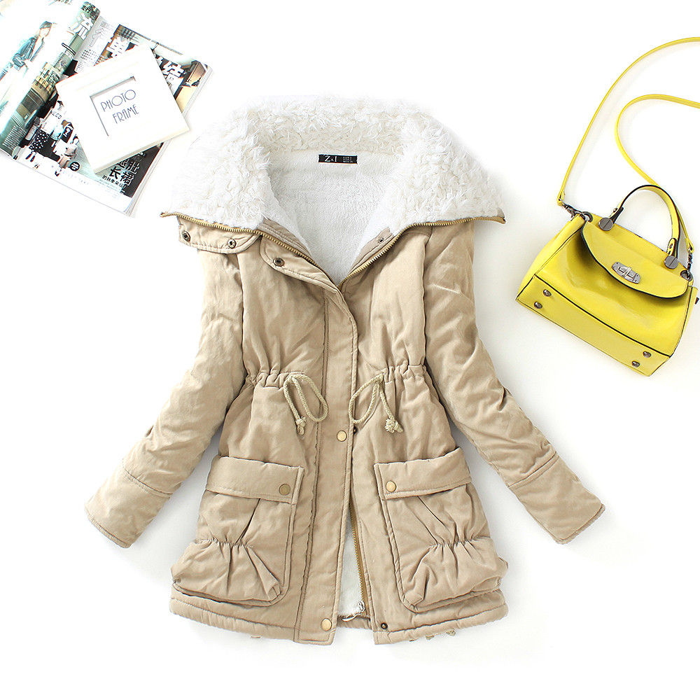 FTLZZ, новые зимние парки, женское тонкое хлопковое пальто, толстое пальто средней длины размера плюс, повседневное пальто, стеганая зимняя верхняя одежда - Цвет: khaki