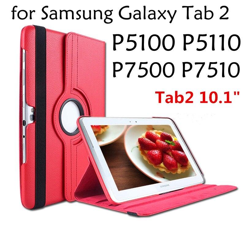 Para samsung galaxy tab 2 10.1 polegada p5100 p5110 p7500 p7510 tab2 tablet caso 360 suporte rotativo flip capa de couro