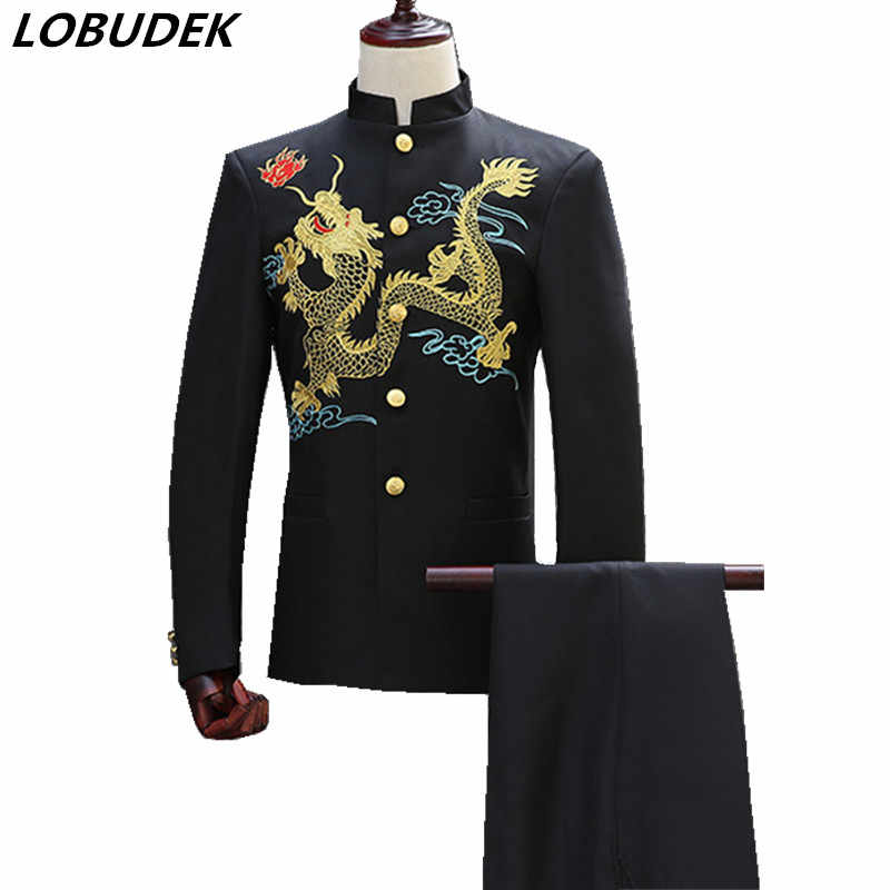 (jacket+pants) Men suits Chinese style Costume Studio black white embroidered tunic youth dress suit Male Wedding groom clothing