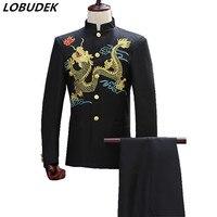 a3f6b8590ff9b Jacket Pants Men S Costume Studio Black And White Dragon Embroidered Collar  Tunic Youth Dress. US $66.00 US $42.90. (Ceket + pantolon) erkekler takım  ...