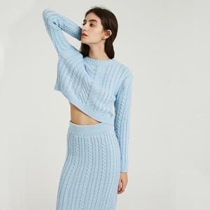 Image 2 - Wixra Conjuntos de punto de otoño e invierno para mujer, suéteres de manga larga con cuello redondo, faldas hasta la rodilla, conjuntos sólidos para mujer