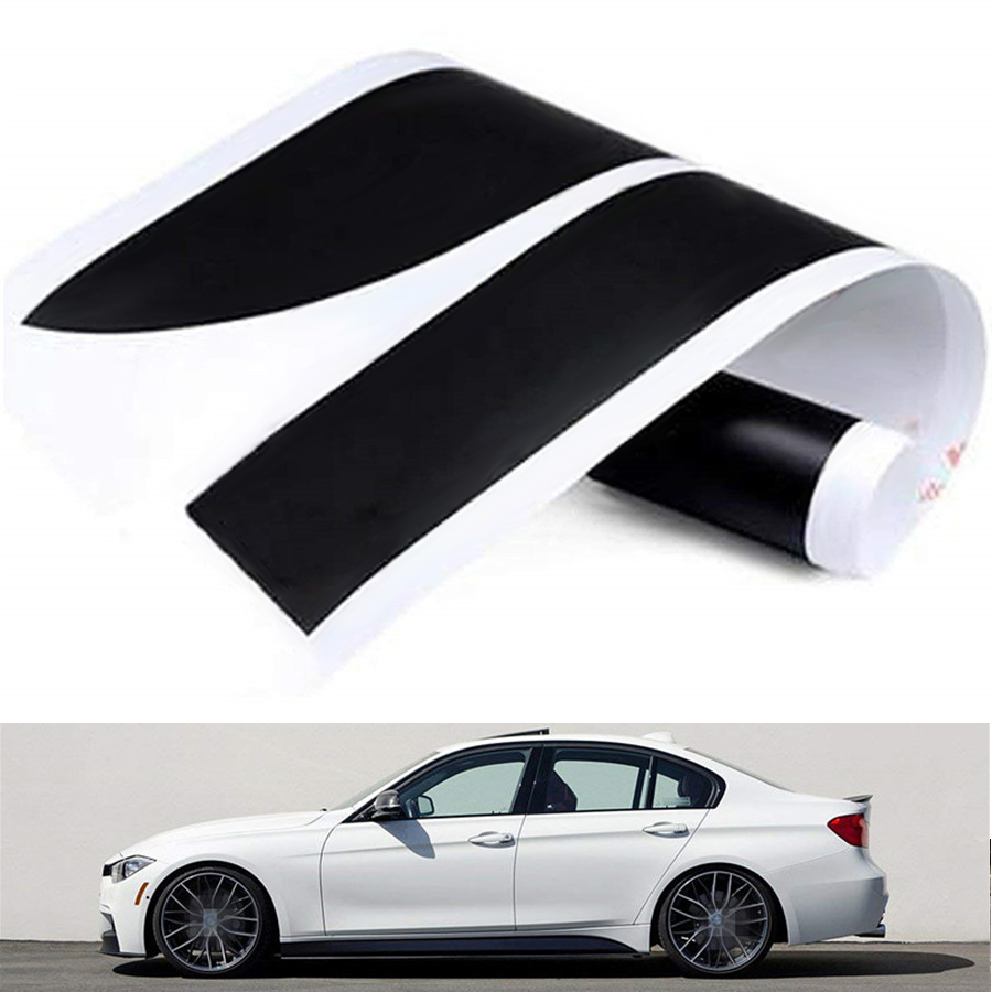 1pair 2.15M Matte Black Side Skirt Decal Stripe <font><b>Sticker</b></font> Sport Performance for <font><b>BMW</b></font> 3 4 5 Series F30 <font><b>F31</b></font> F32 F33 F36 E60 E61 image