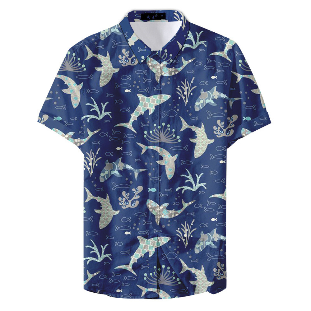 Hawaiian Men Shirt Funny Fish And Shark Print Men Fashion Hawaiians Shirt Short Sleeve Cool For Summer