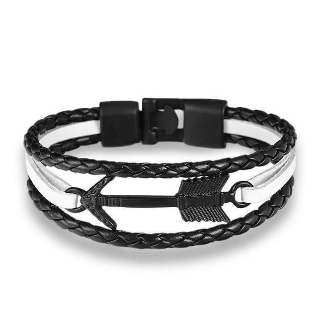 Mkendn nova chegada pena seta pulseira pulseira de couro genuíno mão corrente fivela amizade masculino feminino âncora pulseira hombre