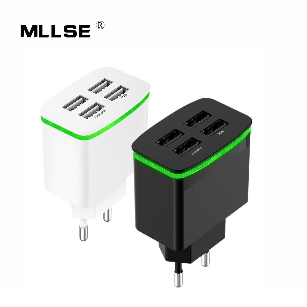 EU Plug Phone Charger USB Charger 4 Ports Portable Fast USB Charging Universal Travel Adapter For iPhone Samsung XIAOMI Huawei