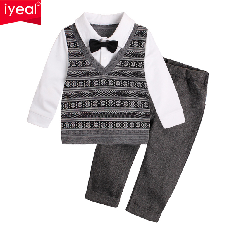 IYEAL  Autumn Fashion Infant Clothing Baby Suit Children Boys Clothes Gentleman Bow Tie  Fake Two Pieces Jacket + Pants Kids SetIYEAL  Autumn Fashion Infant Clothing Baby Suit Children Boys Clothes Gentleman Bow Tie  Fake Two Pieces Jacket + Pants Kids Set