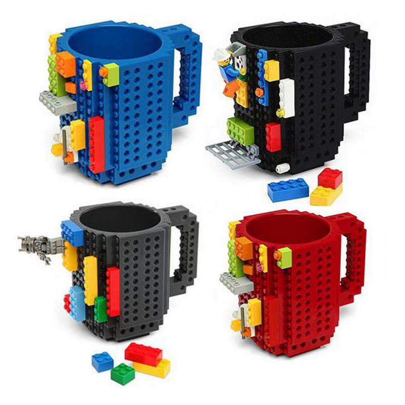 DIY Build-On Brick Mug Building Blocks Coffee Cup Puzzle Mug Block Drinkware Christmas Drinking Water Gift 6 Colours