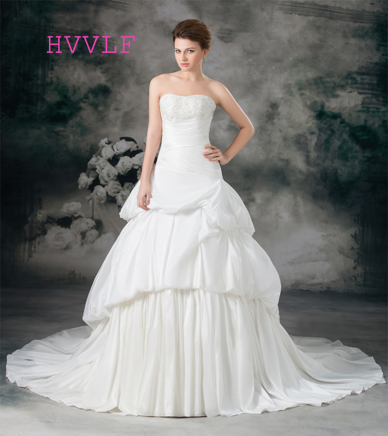 Cheap 2019 Wedding Dresses Ball Gown Strapless Chapel Train Taffeta Beaded Boho Wedding Gown Bridal Dresses Vestido De Noiva
