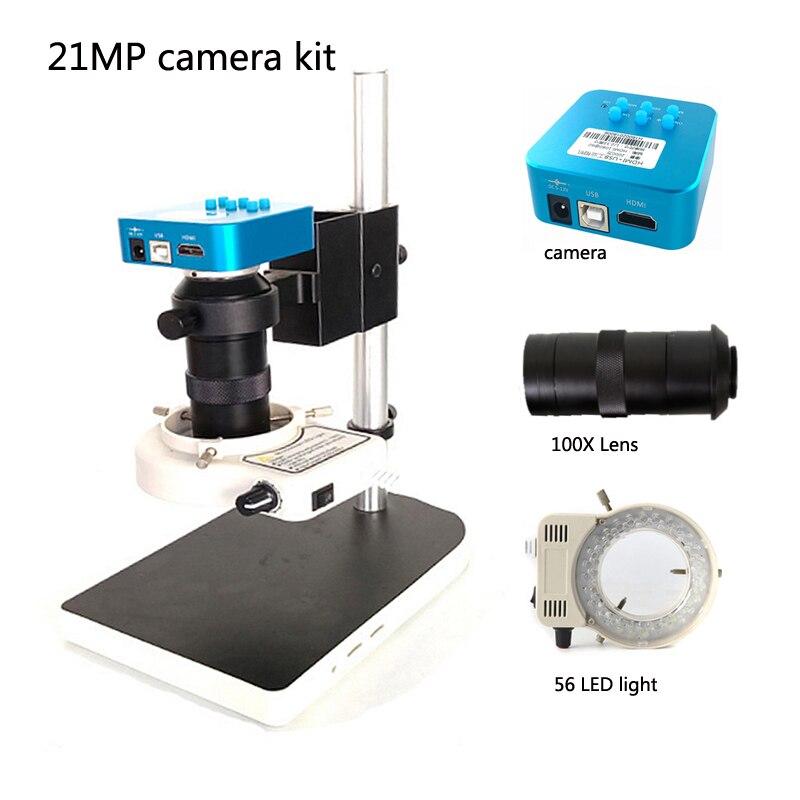 Nouvelle caméra de Microscope numérique vidéo industrielle HDMI 20MP USB + Mini socle de bureau outil de réparation de téléphone portable